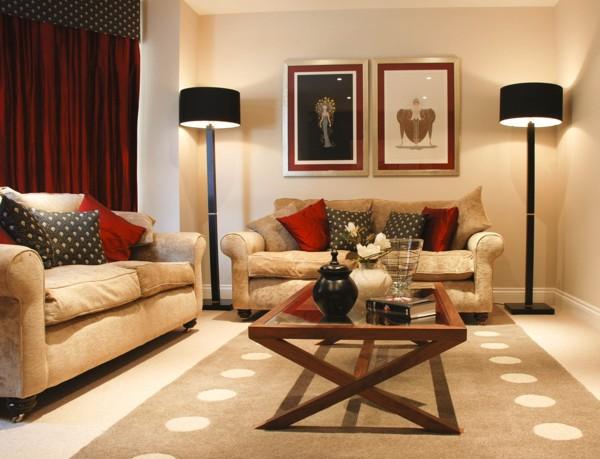 ideen : geräumiges wohnzimmer modern grau rot deko beige ...